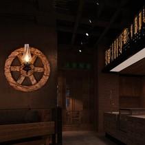 Wandlamp stoer hout wiel kandelaar 580x580mm E14