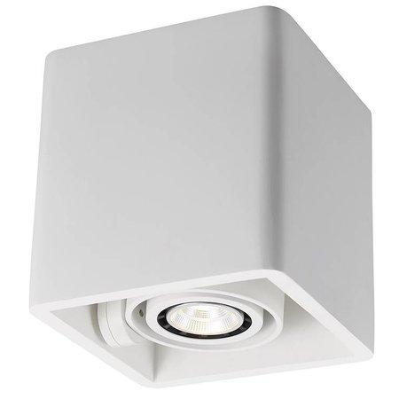 Plafonnier design pas cher GU10 carré plâtre 130x130mm