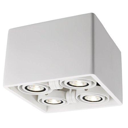Plafonnier design pas cher GU10 carré plâtre 205x205mm