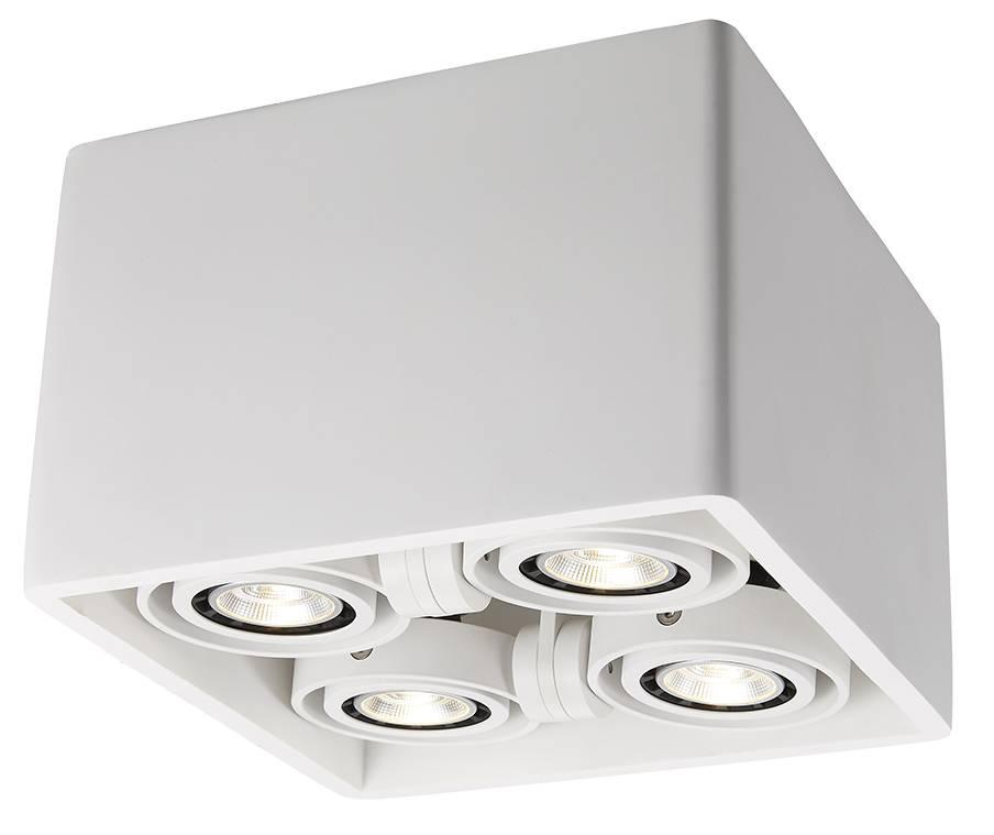 Ceiling light GU10 design plaster square 205x205mm