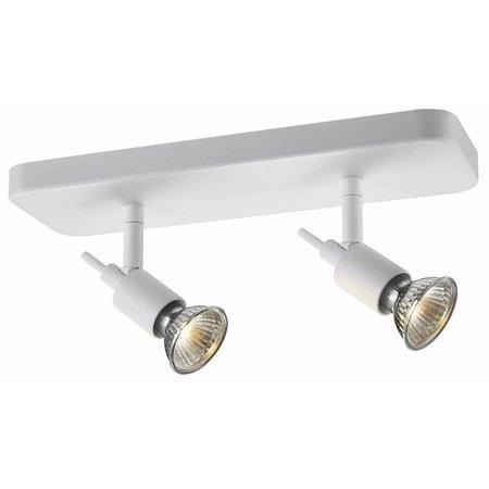 Plafondlamp wit of zwart GU10 spot op stang 2x5W LED