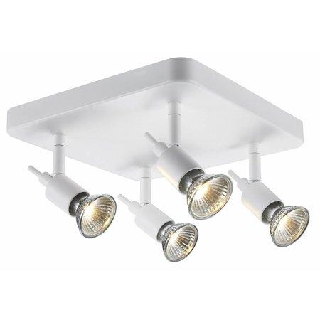 Plafondlamp 4 spots wit of zwart GU10 op stang 4x5W LED