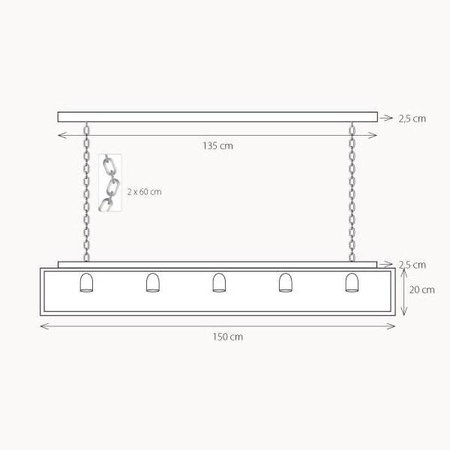 Hanglamp landelijke stijl glas ketting 150cm lang E27x5