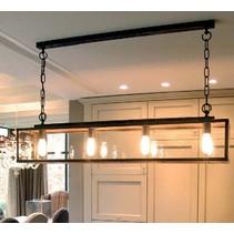 Luminaire suspendu rustique verre chaine 125cm long E27x4