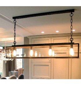 Hanglamp landelijke stijl glas ketting 125cm lang E27x4