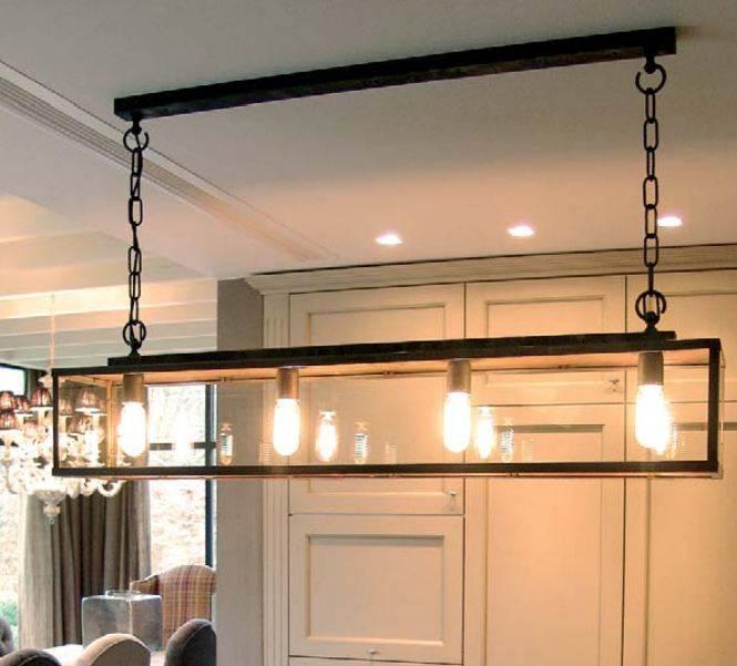 Hanglamp landelijke stijl glas ketting 125cm lang e27x4 for Landelijke lampen