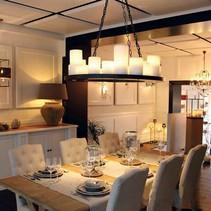 Hanglamp met kaarsen x14 landelijk brons LED rond 100cm