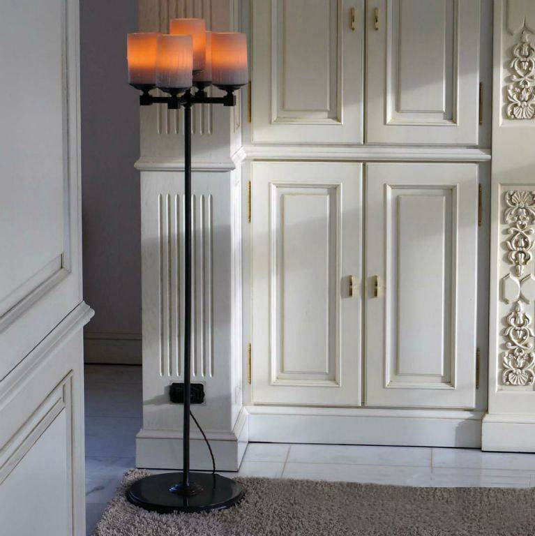 Rustic floor lamp design LED candle x5 chandelier 140cm