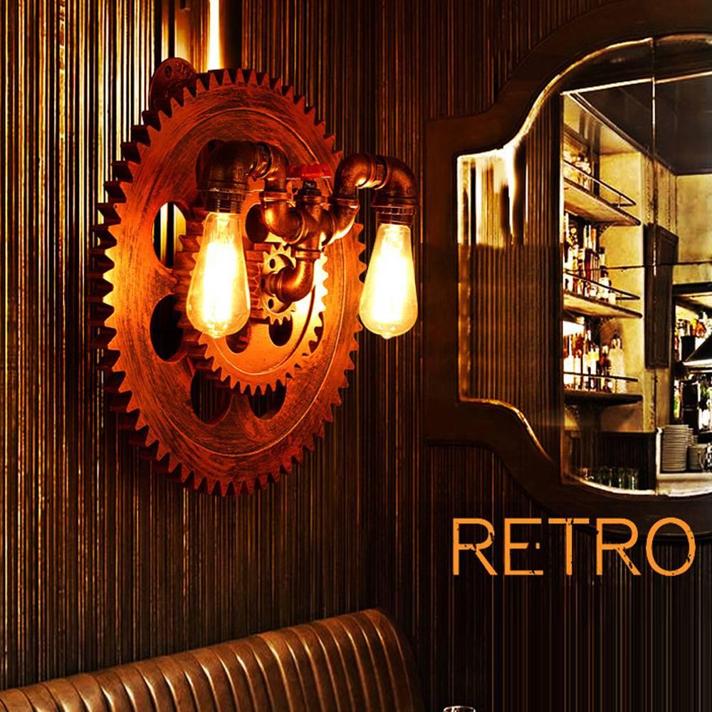 applique murale industrielle roue et robinet 420mm 2xe27 myplanetled. Black Bedroom Furniture Sets. Home Design Ideas
