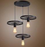 Industrial pendant light 3 wheels spokes E27x3 black or rust