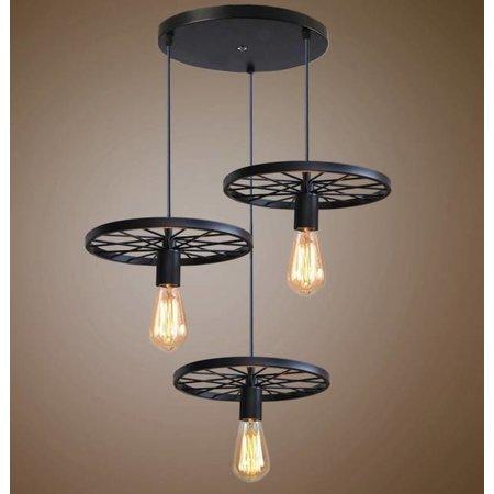 Industriële hanglamp 3 wielen spaken E27x3 zwart of roestkleur