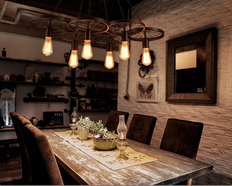 Luminaire suspendu vintage avec roues pour éclairage led