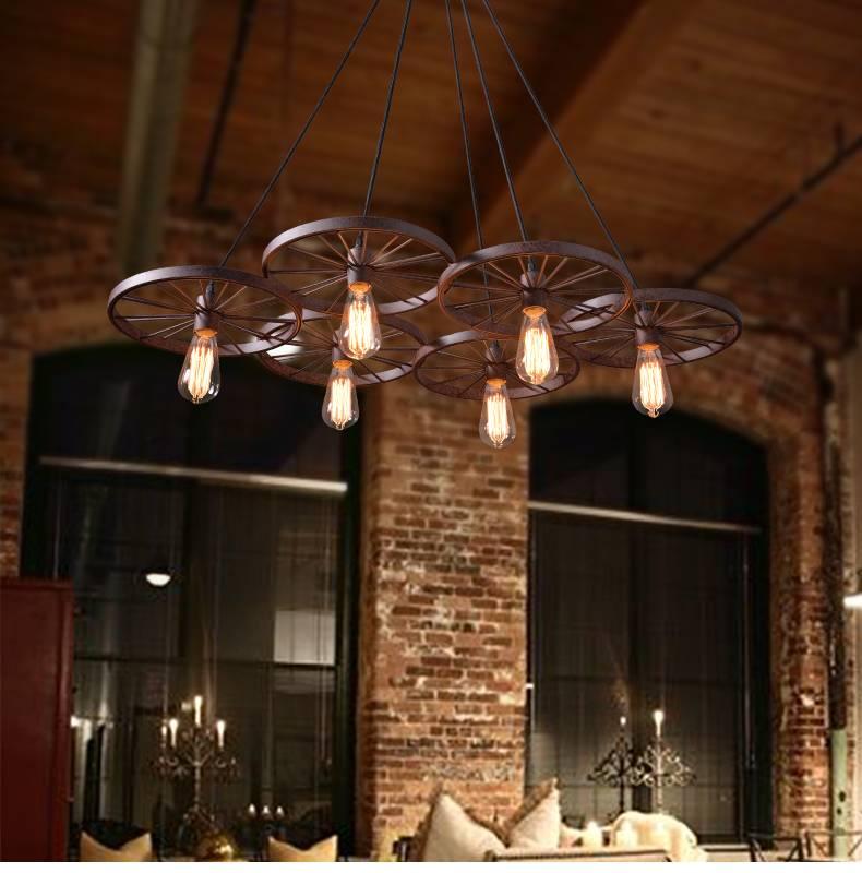 luminaire suspendu vintage avec 6 roues pour clairage led myplanetled. Black Bedroom Furniture Sets. Home Design Ideas
