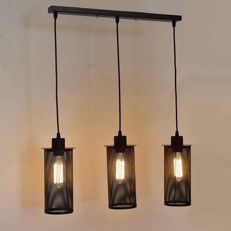 Industriele Hanglamp Met 3 Zwarte Lampenkappen Van 25cm Myplanetled