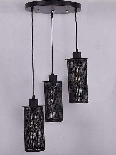 suspension vintage avec 3x abat jour 25cm myplanetled. Black Bedroom Furniture Sets. Home Design Ideas