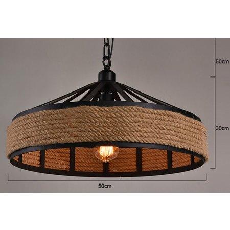 luminaire suspendu vintage avec corde 43cm diam tre e27 myplanetled. Black Bedroom Furniture Sets. Home Design Ideas