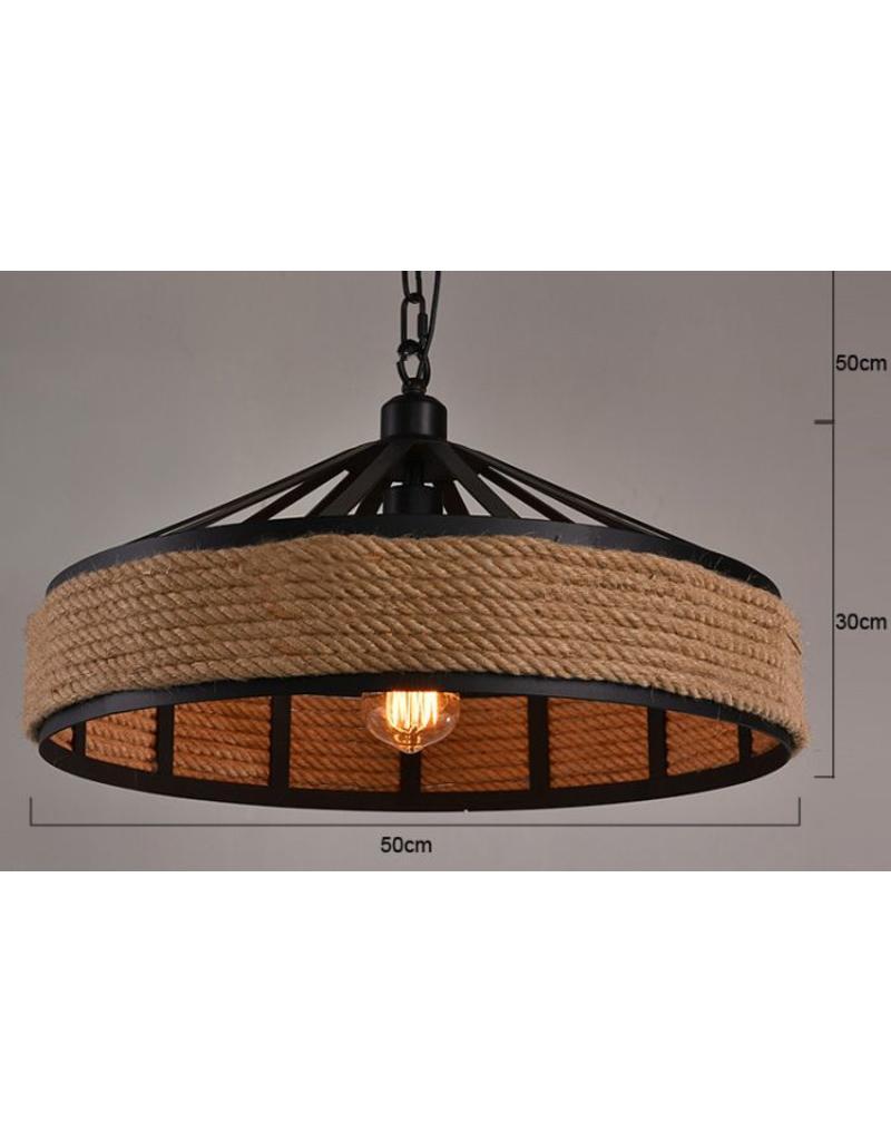 Industriële hanglamp met touw 43cm diameter E27