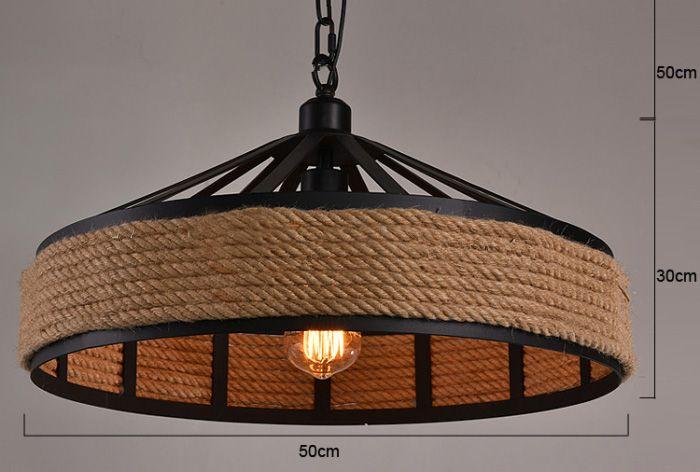 Woonkamer Verlichting Pendelarmatuur : Industriële hanglamp met touw 43cm diameter e27 myplanetled