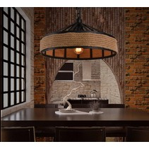 Industrial pendant light with rope 43cm diameter E27
