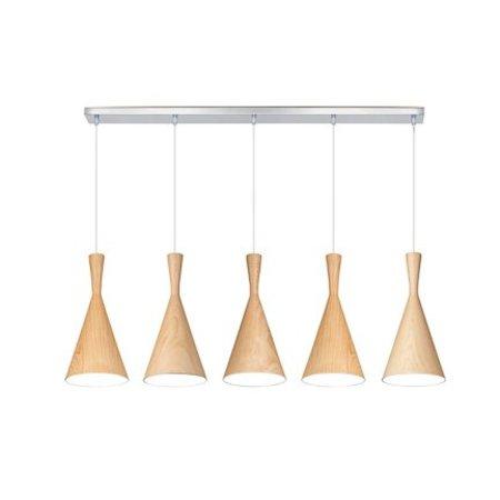 Lustre design métal bois E27x5 1,1m long