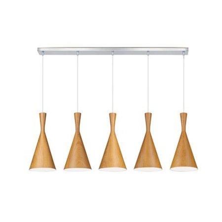 Hanglamp boven eettafel metaal hout e27x5 1 1m myplanetled for Hanglamp eettafel