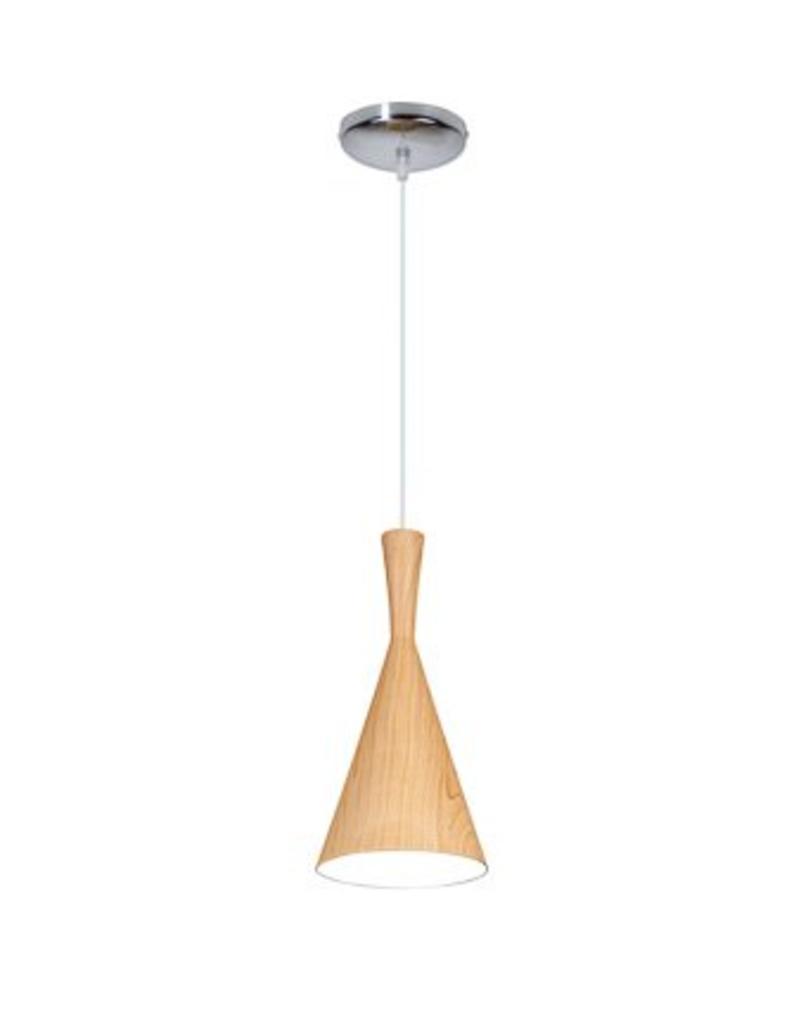 Conical pendant light metal wood colour E27 19cm Ø