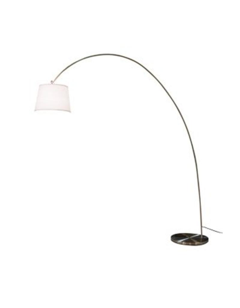 Modern floor lamp arc lamp shade white 215cm h myplanetled for Arc floor lamp with white shade
