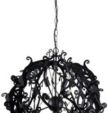 Metal pendant light black, white, grey round 51cm Ø