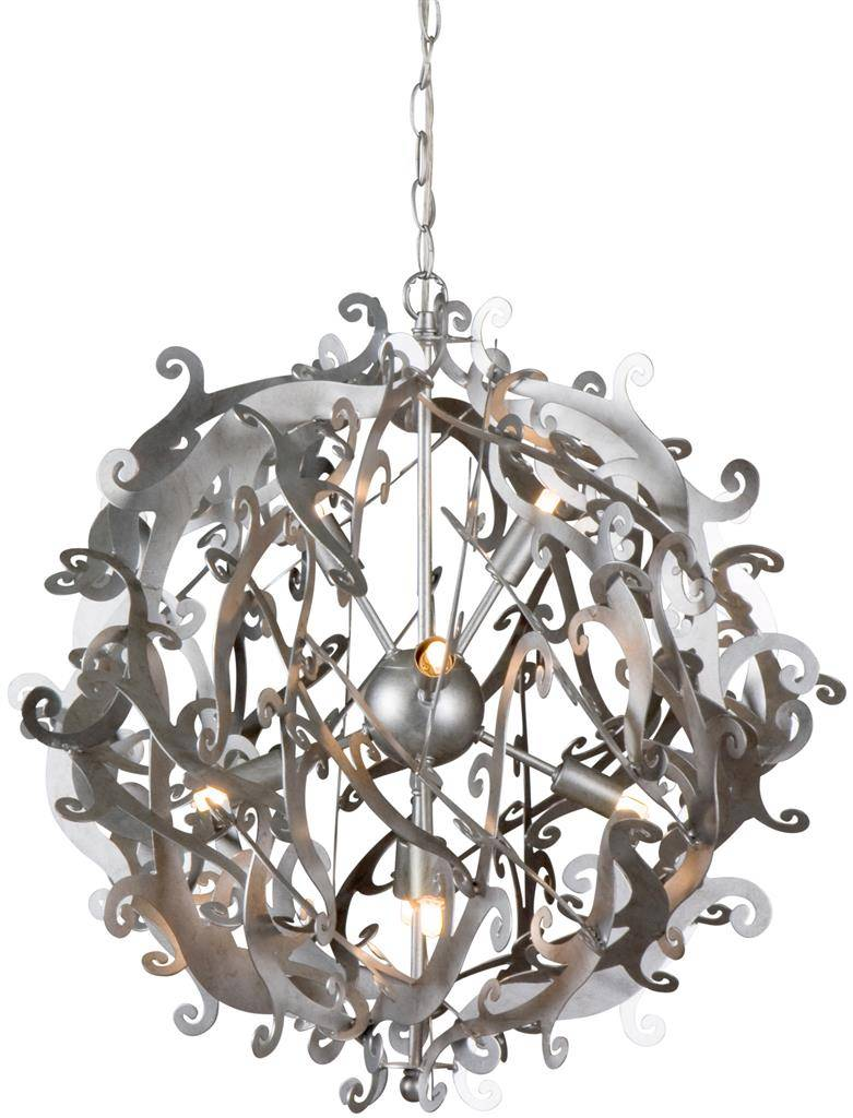 Metal pendant light black, white, grey round 51cm Ø