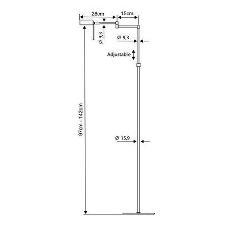 Modern floor lamp brass, grey orientable G9 142cm H