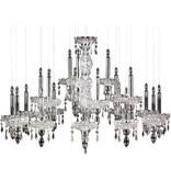 Glass pendant light chrome elegant 90cm diameter