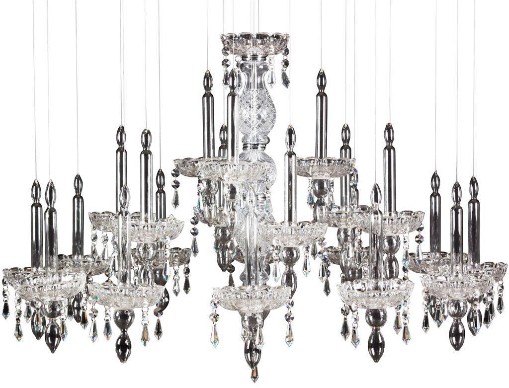 lustre en verre chrome l gant 90cm diam tre gu10x7. Black Bedroom Furniture Sets. Home Design Ideas