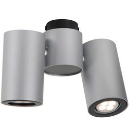 Cylinder ceiling light white or grey orientable GU10x2