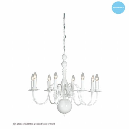 Chandelier pendant light white, black, grey 85cm E14x8