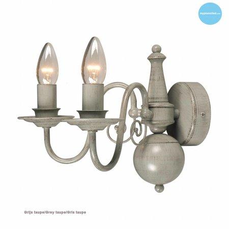 Klassieke wandlamp kandelaar beige, taupe E14x2