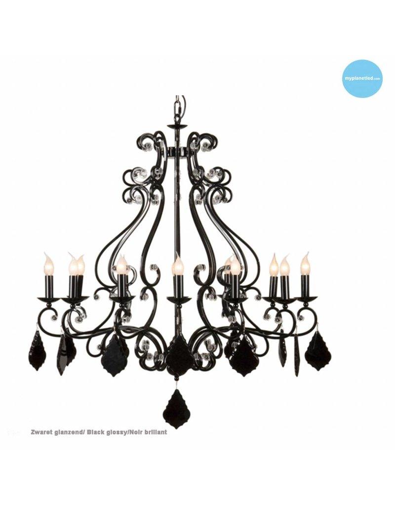 Chandelier pendant light black grey, white E14x12 105cm