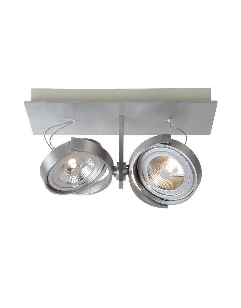 spot plafond led blanc gris orientable 2x12w 33cm. Black Bedroom Furniture Sets. Home Design Ideas