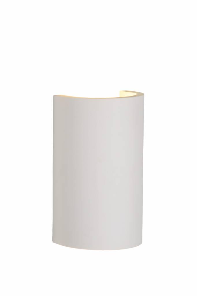 Plaster wall light white up down half tube G9 18cm H