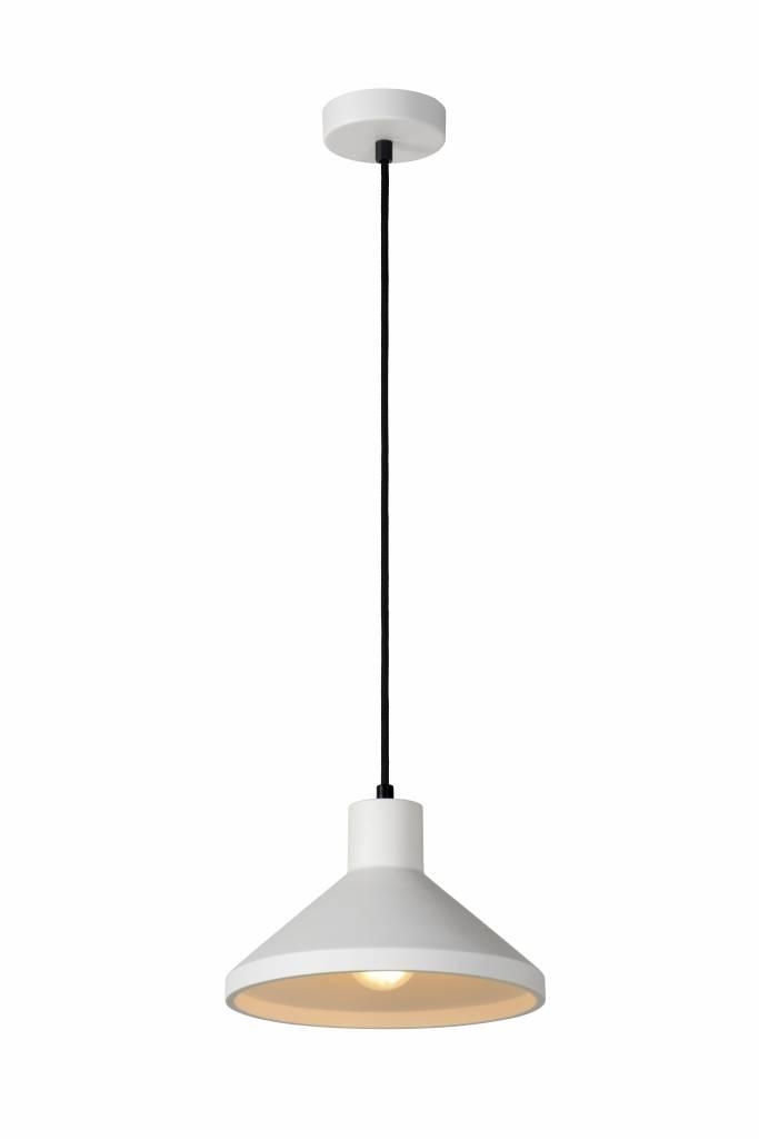 Hanglamp wit gips conisch E27 25cm diameter