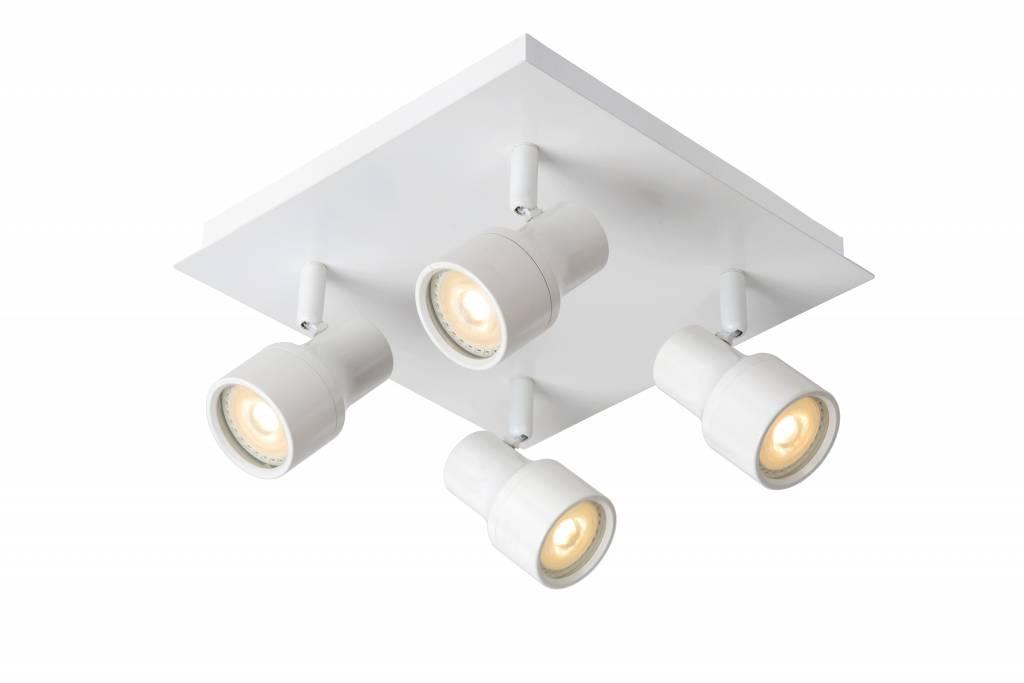 Spot plafond salle de bain led blanc chrome gu10 4x4 5w - Spot plafond salle de bain ...
