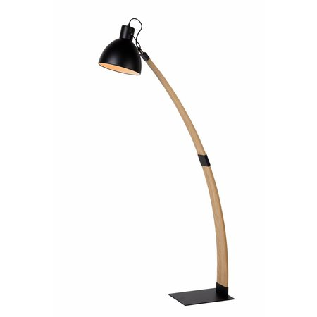 Arc floor lamp wood industrial white or black 143cm H