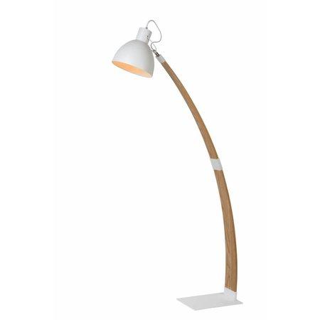 Staande lamp hout boog wit of zwart 143cm hoog