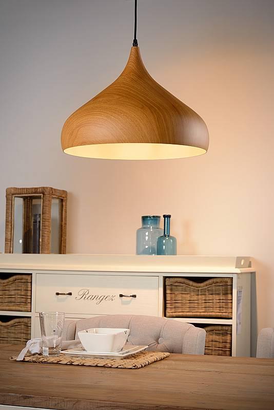 lustre design couleur bois 42cm diam tre e27 myplanetled. Black Bedroom Furniture Sets. Home Design Ideas