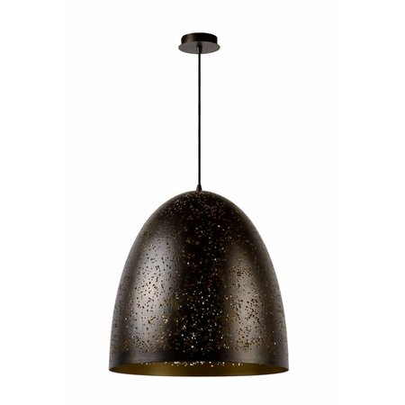 Dome pendant light black gold 49cm diameter E27