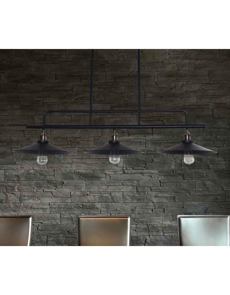 Hanglamp industrieel zwart eetkamer 1200mm E27x3