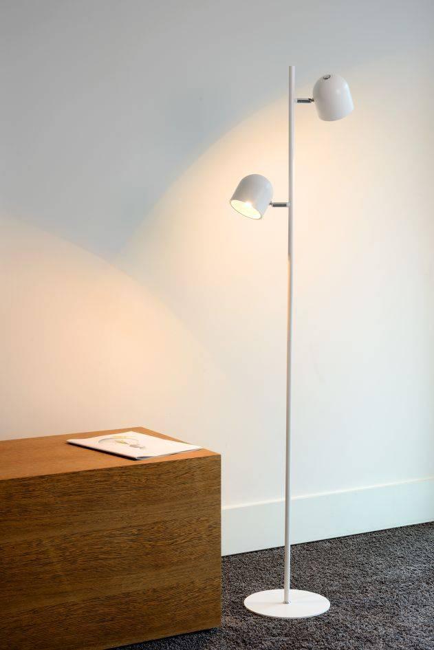 lampadaire scandinave noire blanche led 2x5w 141cm myplanetled. Black Bedroom Furniture Sets. Home Design Ideas