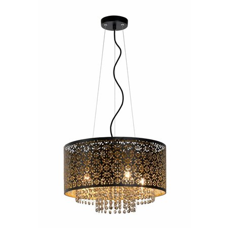 Crystal pendant light black or white 415mm Ø G9x4