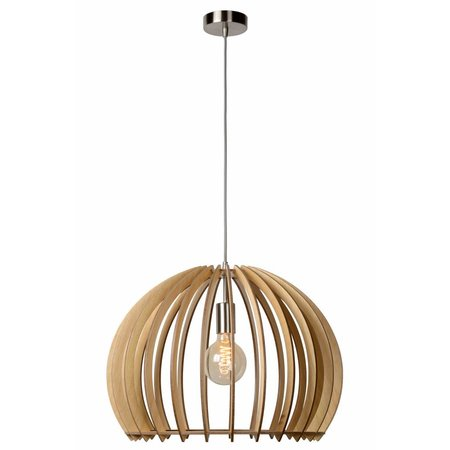 Wooden pendant light white, wood colour 500mm Ø E27