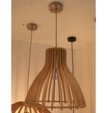 Wooden pendant light white, wood colour 350mm Ø E27