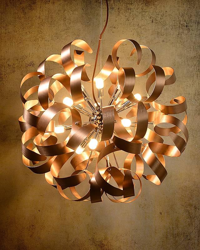 Copper pendant light design LED curls 60cm 12x4W